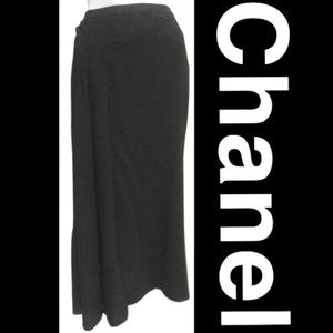Chanel Black Pencil Skirt  with Asymmetric Front